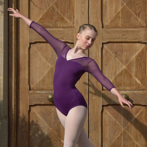 VICTORIA - V FRONT V BACK LONG SLEEVE LEOTARD Dancewear Click Dancewear Plum 2 (Age 8-10)