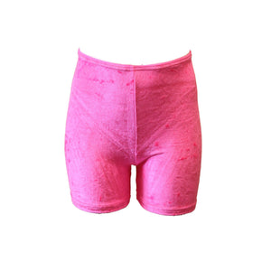 VSAM - VELOUR/VELVET THIGH LENGTH SHORTS Children's Dancewear Dancers World Flo Pink 1 (Age 6-8)