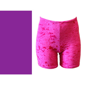 VSAM - VELOUR/VELVET THIGH LENGTH SHORTS Children's Dancewear Dancers World Purple 0 (Age 4-6)