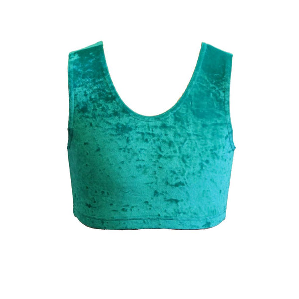 VSUZI - JADE GREEN VELOUR / VELVET SLEEVELESS CROP TOP Dancewear Dancers World
