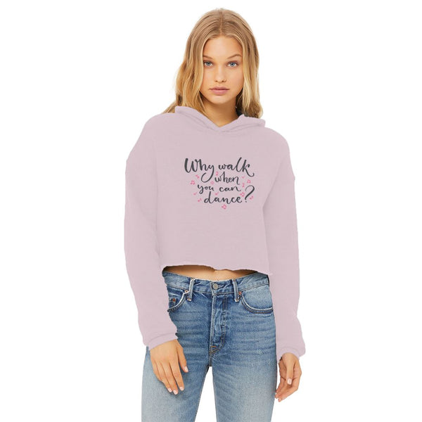 Why Walk Ladies Cropped Raw Edge Hoodie - Light colours Cropped Hoodie Click Dancewear Light Pink XS