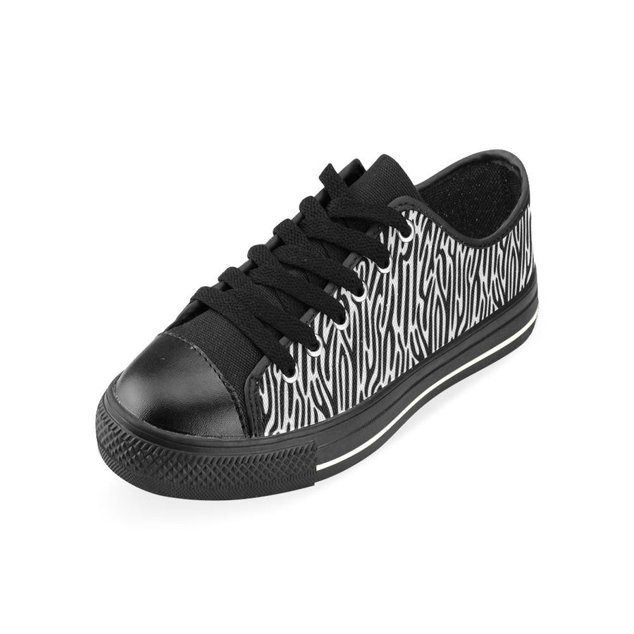 ZEBRA PRINT LOW TOP BLACK CANVAS CHILDRENS/KIDS SNEAKERS Sneakers Dancers World