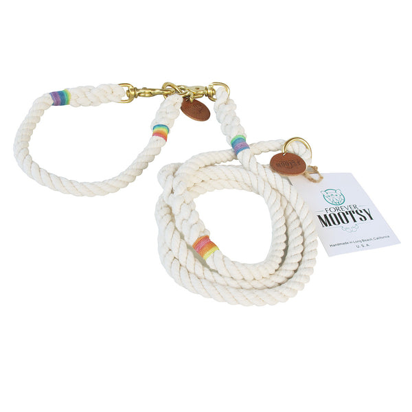 NEW!!!  Natural White Dog Leash - Rainbow Hemp Twine