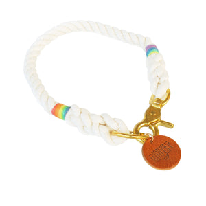 Natural White Dog Collar - Rainbow Hemp Twine