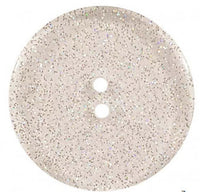 Round Polyester Button With Glitter 18mm Transparent