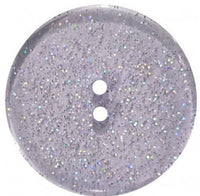 Round Polyester Button With Glitter 18mm Blue