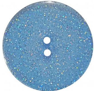 Round Polyester Button With Glitter 18mm Medium Blue