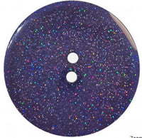 Round Polyester Button With Glitter 18mm Dark Blue