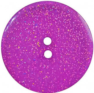 Round Polyester Button With Glitter 18mm Purple