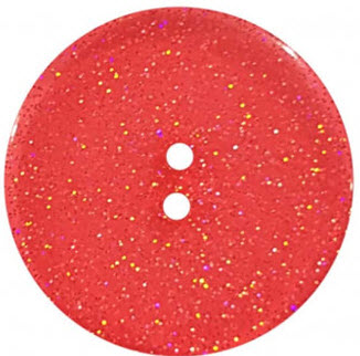 Round Polyester Button With Glitter 18mm Red