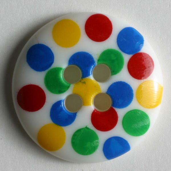 White Button with Multi Colored Dots