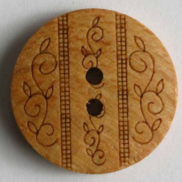 Wood Button with Vine Engraving