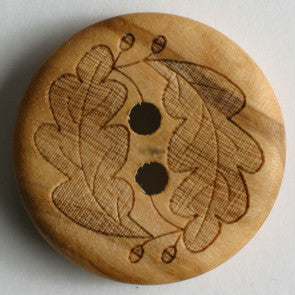 Wooden Button with engraved leaf pattern 23 mm