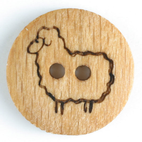 Wood Button with Sheep