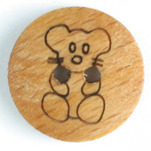 Teddy Bear Wood Button 15mm