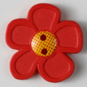 Red Daisy Button 20mm