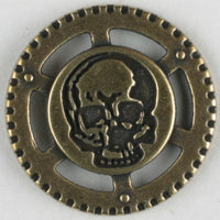 Steampunk Skull button with shank 23mm