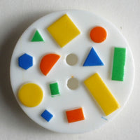 Novelty White Art button 15mm