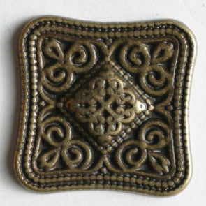 Antique Tin Square Full Metal Button 23mm