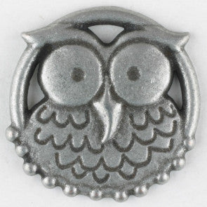 Nicky Epstein Antique Tin Owl button with shank 25mm