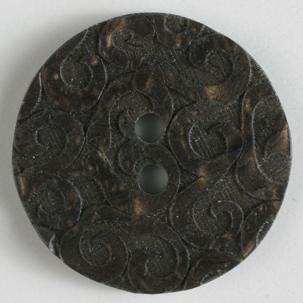 Brown button with scrolls 23mm