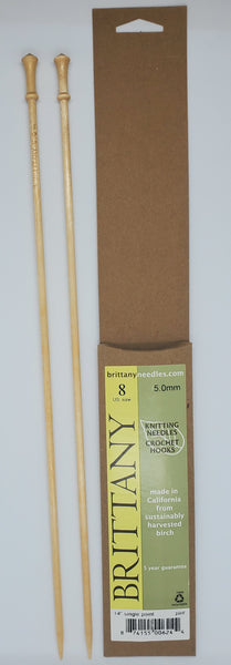Brittany Birch 14 inch Straight knitting needles size US