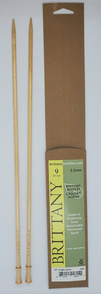 Brittany Birch 14 inch Straight knitting needles size US 9