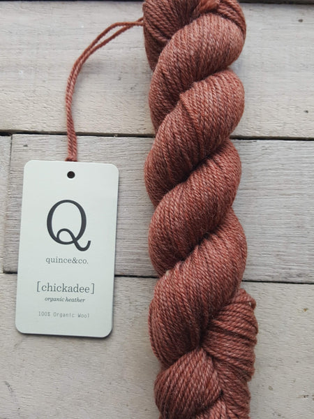 Chickadee Organic Heathers from Quince & Co in the colorway Cedar
