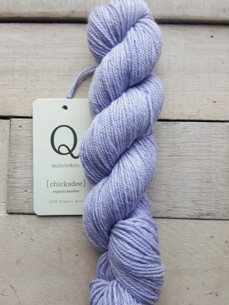 Chickadee Organic Heathers from Quince & Co in the colorway Hydrangea