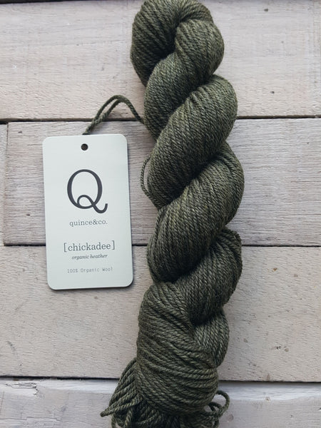 Chickadee Organic Heathers from Quince & Co in the colorway Moss