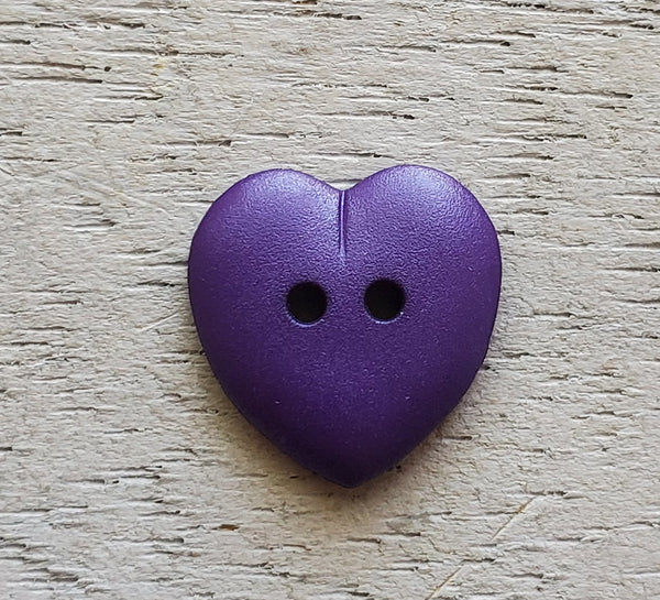 Heart Button 15mm Purple