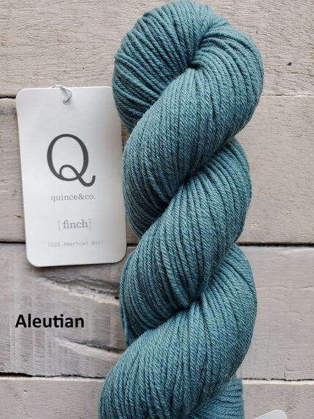 Quince & Co. Finch yarn in the color Aleutian (teal blue)