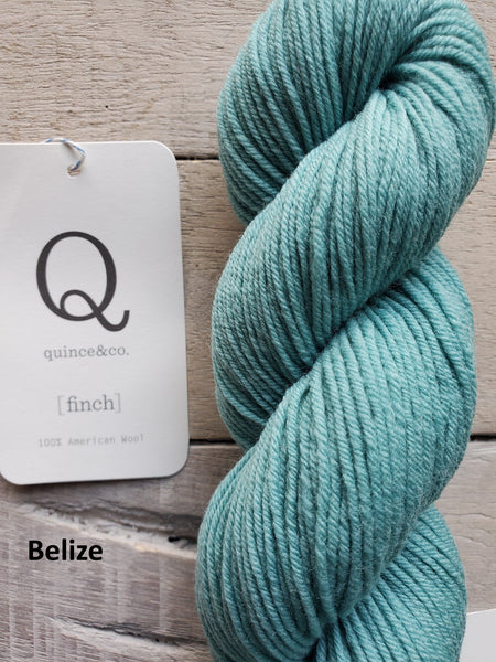 Quince & Co. Finch yarn in the color Belize (green blue)