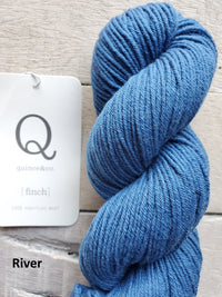 Quince & Co. Finch yarn in the color River (bright blue)