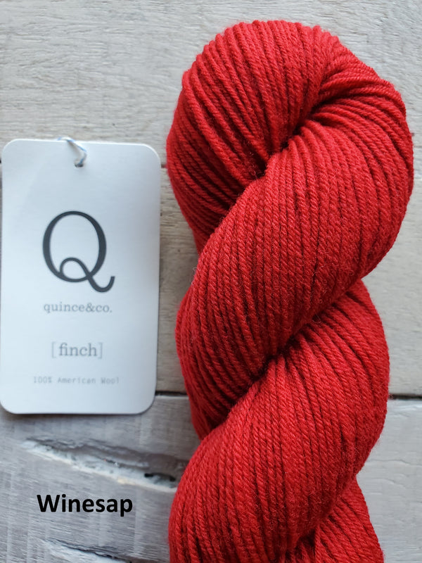 Quince & Co. Finch yarn in the color Winesap (red)