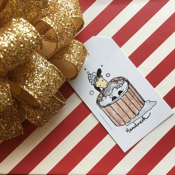 "Holiday Gift Tag  with sheep ""Hand Wash"""