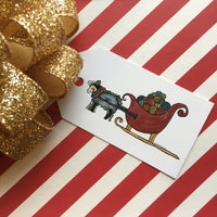 Holiday Gift Tag sheep pulling sleigh filled with yarn
