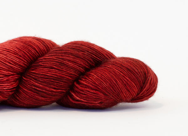 Shibui Silk Cloud yarn in the color Copperleaf (deep red)