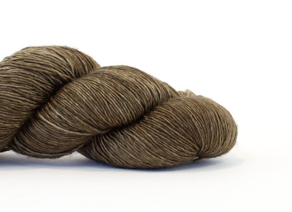 Shibui Silk Cloud yarn in the color Lovegrass (medium brown)
