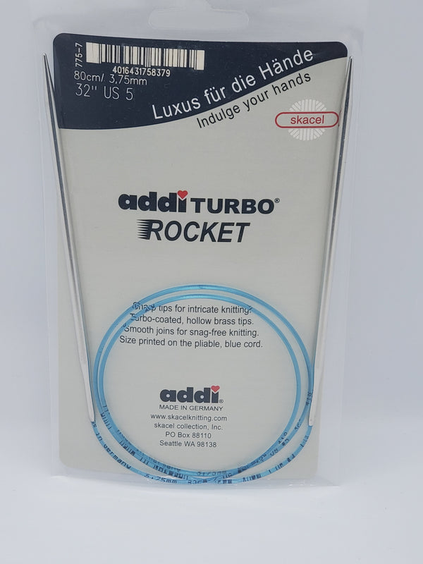 "addi turbo rocket knitting needle 32"" circular size US 5"