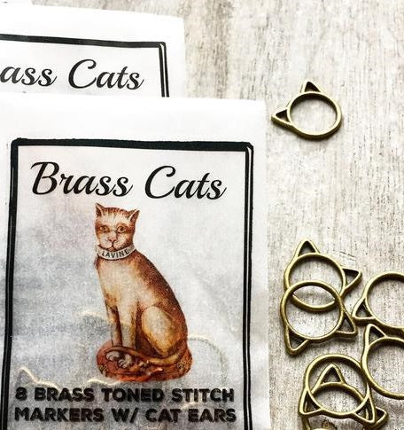 Brass Cats Large Stitch Markers