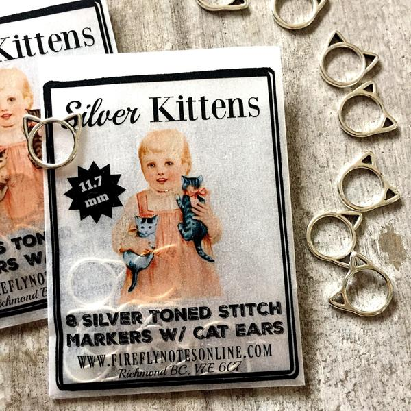 Small Silver Kittens stitch markers