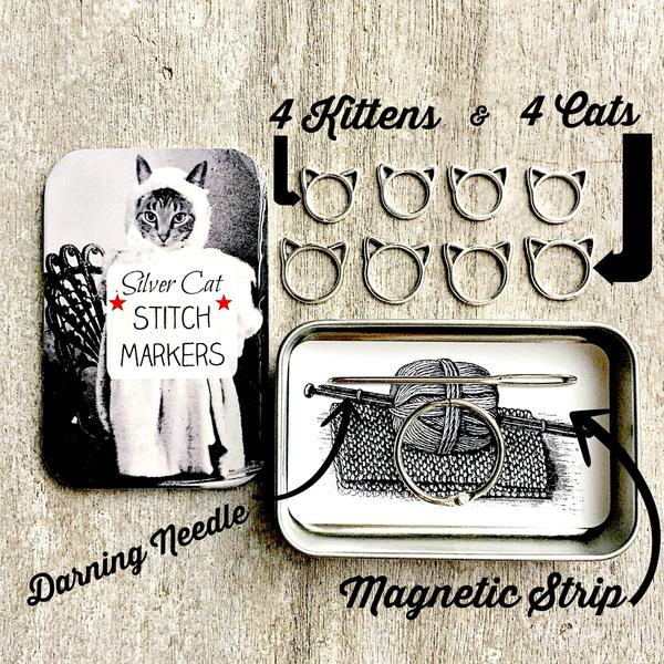 Silver Cat Knitting Kit and Stitch marker storage