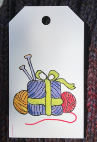 Holiday Gift Tag with wooly presents