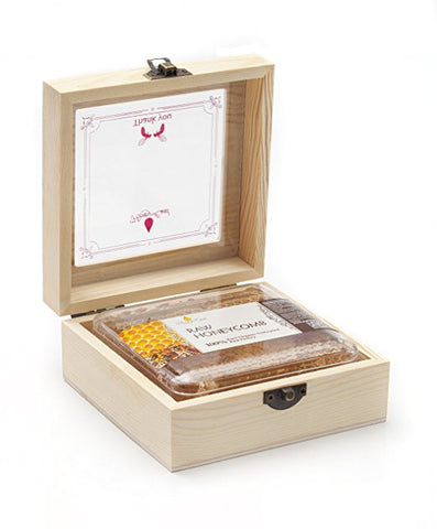 Honey Land 100% Raw Honeycomb In Beautiful Wood Gift Box Ready for Gift Giving - RudiGourmand