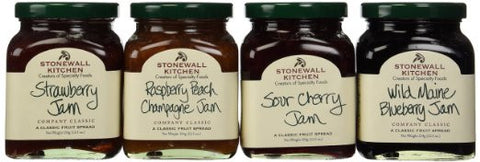Stonewall Kitchen Favorite 4 Piece Jam Collection Includes Raspberry Peach Champagne Jam, Strawberry Jam, Wild Maine Blueberry Jam and Sour Cherry Jam - RudiGourmand