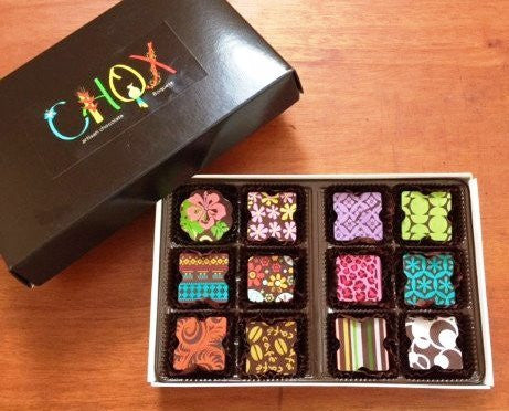 CHOX 12 Piece Box of Assorted Artisan Panamanian Chocolate Truffles - RudiGourmand