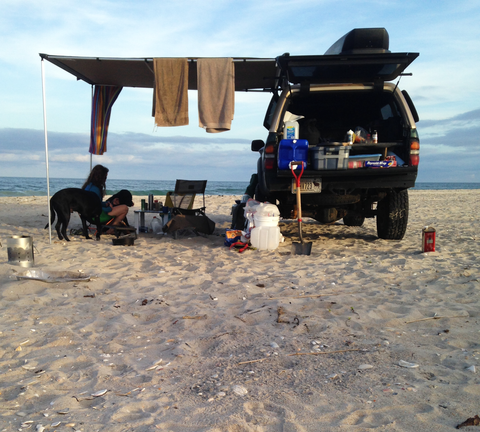 Awning set-up on the beach