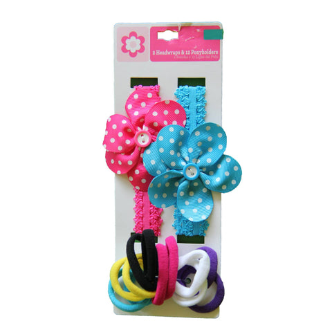 Pack of 2 headbands and 12 ponyholders