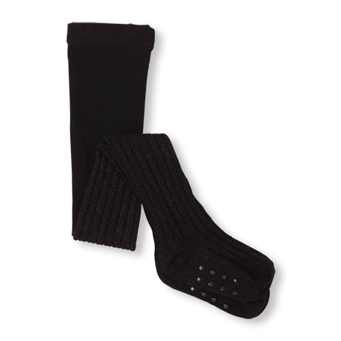 Childrens Place Shiny Rib-Knit Tights (Black)